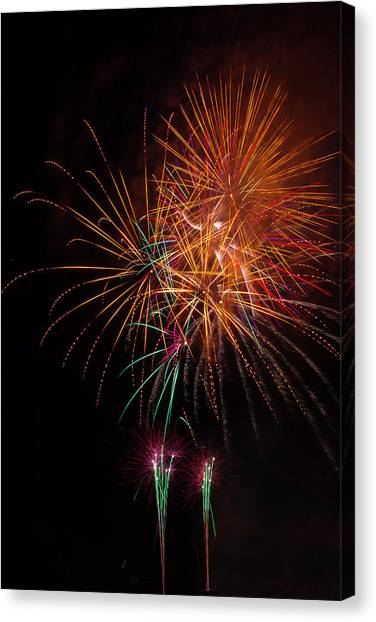 Pyrotechnics Canvas Print - Exciting Fireworks by Garry Gay