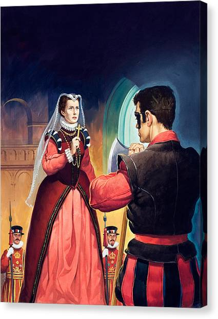 Tower Of London Canvas Print - Execution Of Mary Queen Of Scots by English School