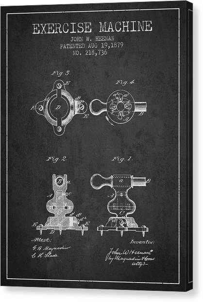 Workout Canvas Print - Exercise Machine Patent From 1879 - Charcoal by Aged Pixel