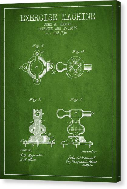 Workout Canvas Print - Exercise Machine Patent From 1879 - Green by Aged Pixel