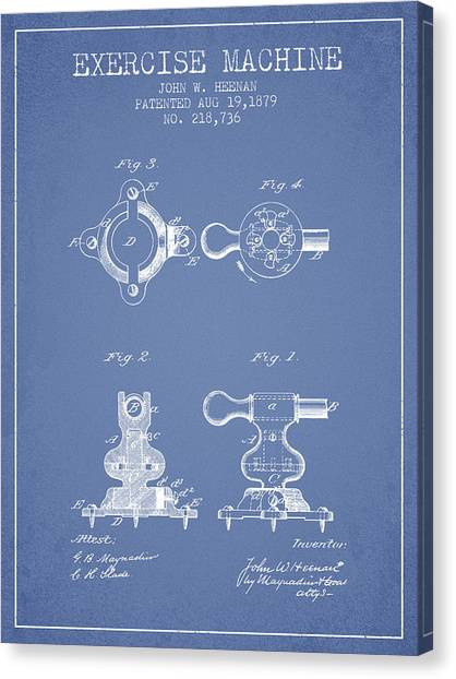 Workout Canvas Print - Exercise Machine Patent From 1879 - Light Blue by Aged Pixel