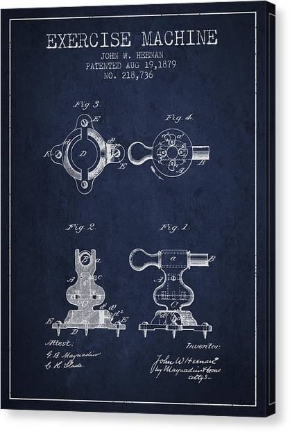 Workout Canvas Print - Exercise Machine Patent From 1879 - Navy Blue by Aged Pixel