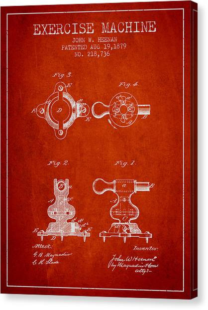 Workout Canvas Print - Exercise Machine Patent From 1879 - Red by Aged Pixel