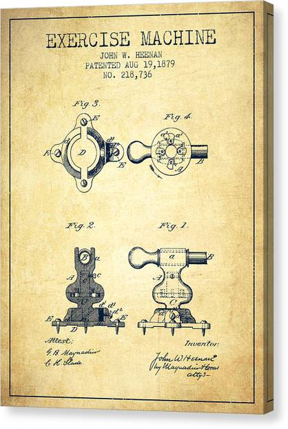 Workout Canvas Print - Exercise Machine Patent From 1879 - Vintage by Aged Pixel