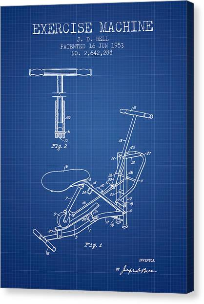 Workout Canvas Print - Exercise Machine Patent From 1953 - Blueprint by Aged Pixel