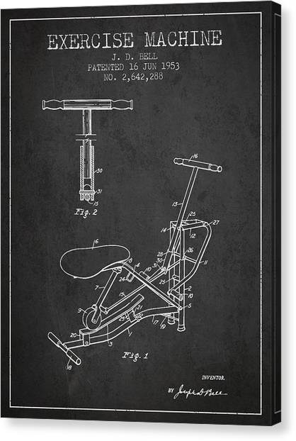 Workout Canvas Print - Exercise Machine Patent From 1953 - Charcoal by Aged Pixel
