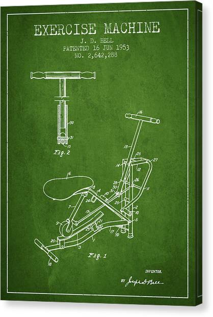 Workout Canvas Print - Exercise Machine Patent From 1953 - Green by Aged Pixel