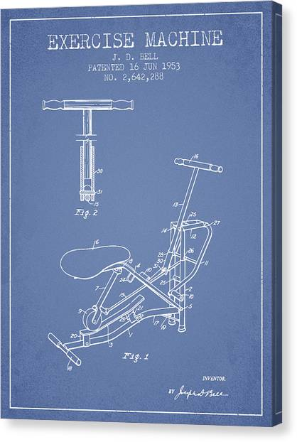 Workout Canvas Print - Exercise Machine Patent From 1953 - Light Blue by Aged Pixel