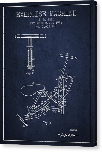 Workout Canvas Print - Exercise Machine Patent From 1953 - Navy Blue by Aged Pixel