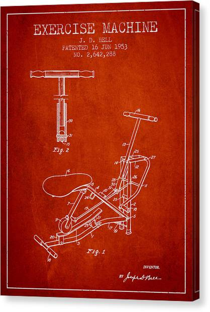 Workout Canvas Print - Exercise Machine Patent From 1953 - Red by Aged Pixel