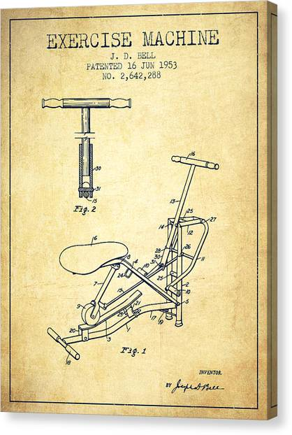 Workout Canvas Print - Exercise Machine Patent From 1953 - Vintage by Aged Pixel