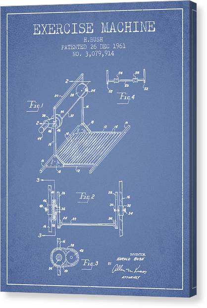 Workout Canvas Print - Exercise Machine Patent From 1961 - Light Blue by Aged Pixel