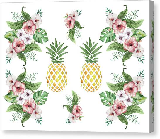 Canvas Print featuring the painting Exotic Hawaiian Flowers And Pineapple by Georgeta Blanaru