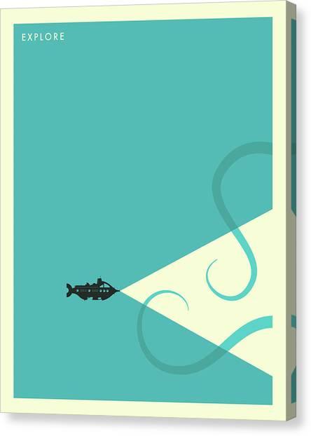 Submarine Canvas Print - Explore - 3 by Jazzberry Blue