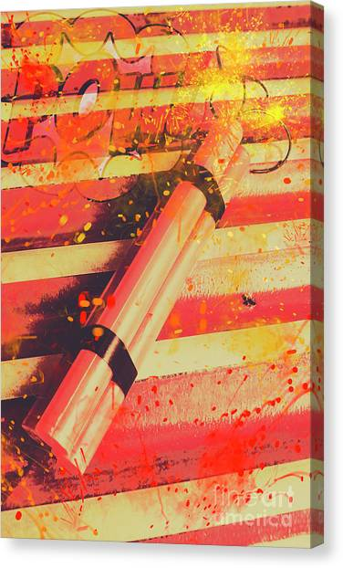 Bombs Canvas Print - Explosive Comic Art by Jorgo Photography - Wall Art Gallery