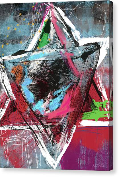 Jewish Art Canvas Print - Expressionist Star Of David- Art By Linda Woods by Linda Woods