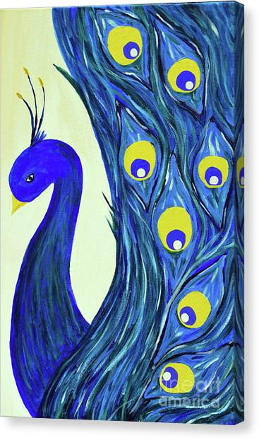 Canvas Print featuring the painting Expressive Brilliant Peacock B71117 by Mas Art Studio