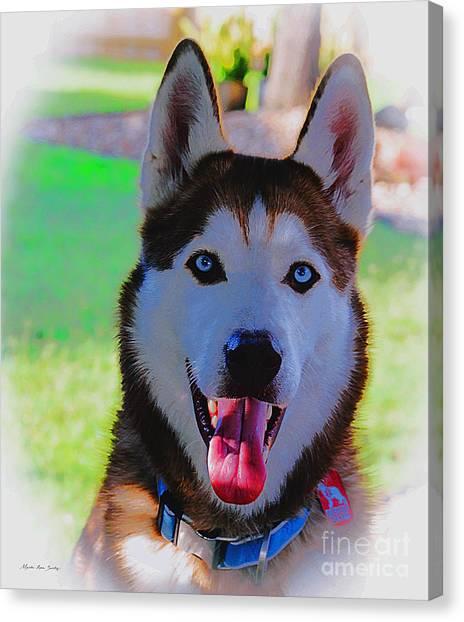 Canvas Print featuring the digital art Expressive Siberian Husky  A62117d by Mas Art Studio