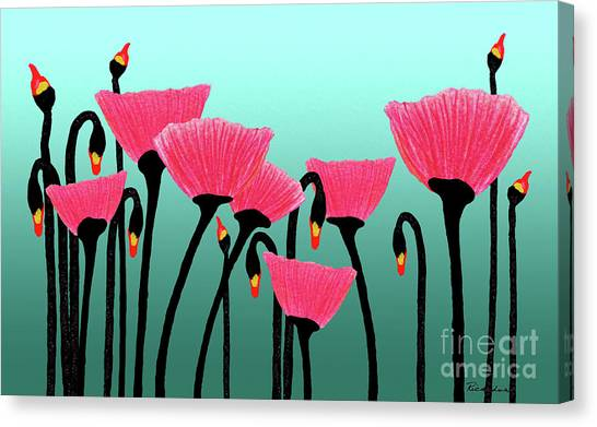 Expressive Red Pink Green Poppy Painting Y1a Canvas Print