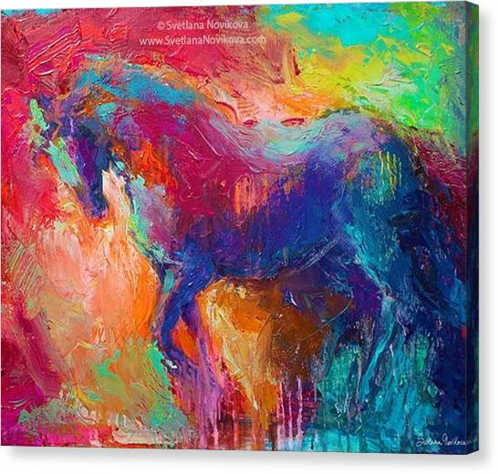 Animals Canvas Print - Expressive Stallion Painting By by Svetlana Novikova