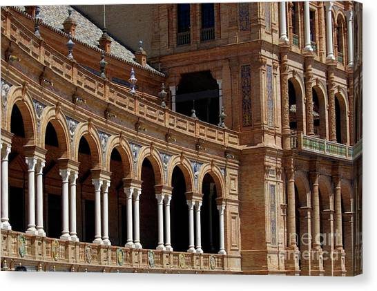 Exterior View Of The Plaza De Espana In Seville Canvas Print by Sami Sarkis