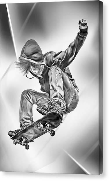Skateboarding Canvas Print - Extreme Skateboard Jump by Julie L Hoddinott