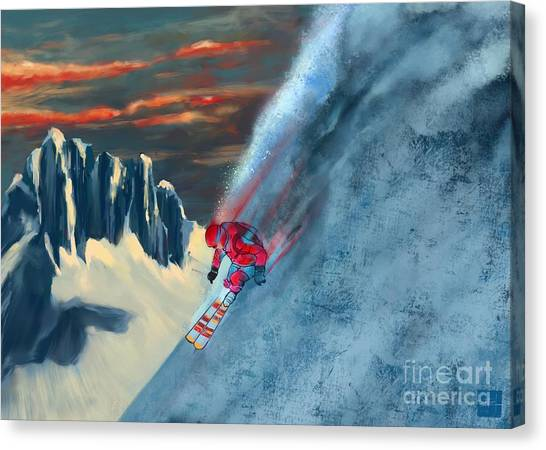 Mountain Sunsets Canvas Print - Extreme Ski Painting  by Sassan Filsoof