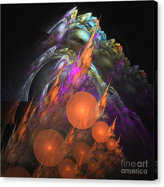 Canvas Print featuring the digital art Exuberant - Abstract Art by Sipo Liimatainen