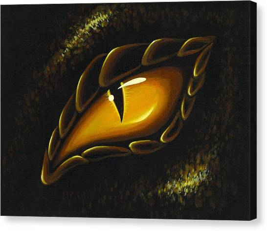 Dragons Canvas Print - Eye Of Golden Embers by Elaina  Wagner