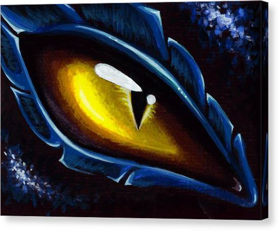 Dragons Canvas Print - Eye Of The Blue Dragon by Elaina  Wagner