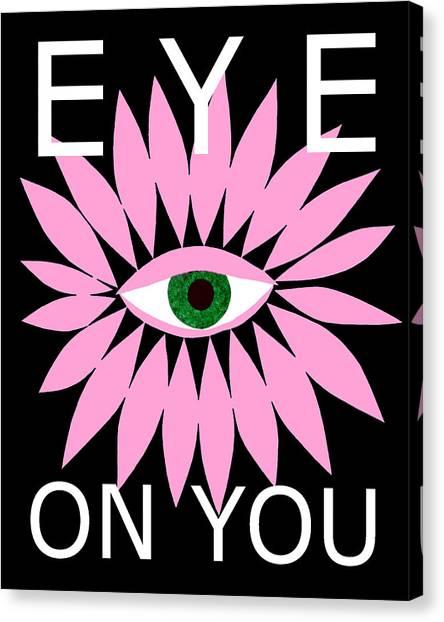 Eye On You - Black Canvas Print
