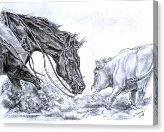 Cowboy Canvas Print - Eye To Eye by Jana Goode