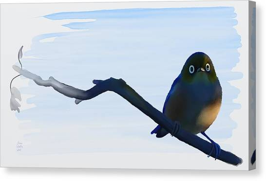 Canvas Print featuring the painting Eye To Eye With Silvereye by Ivana Westin