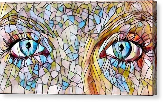 Eyes Of A Goddess - Stained Glass Canvas Print