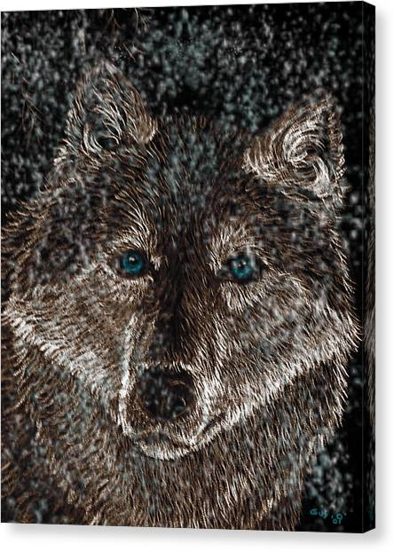 Eyes Of The Snow Wolf Canvas Print by Nick Gustafson
