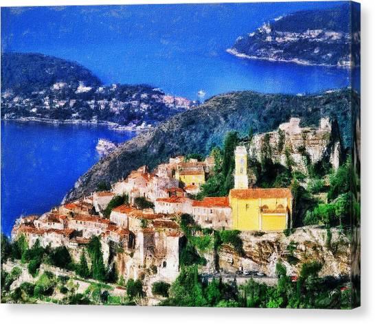 Eze And Cap Ferrat Canvas Print
