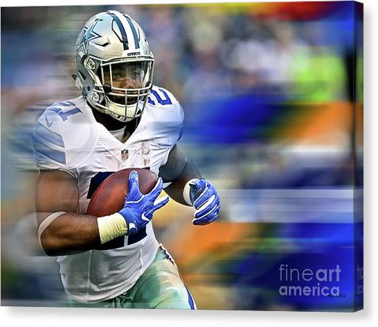 Troy University Troy Canvas Print - Ezekiel Elliot, Number 21, Running Back, Dallas Cowboys by Thomas Pollart