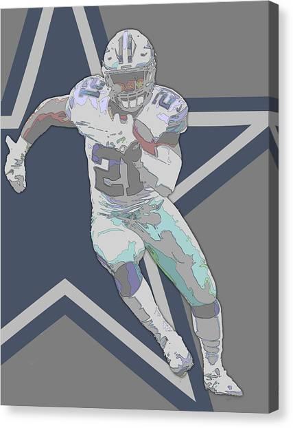 Dallas Cowboys Canvas Print - Ezekiel Elliott Dallas Cowboys Contour Art by Joe Hamilton