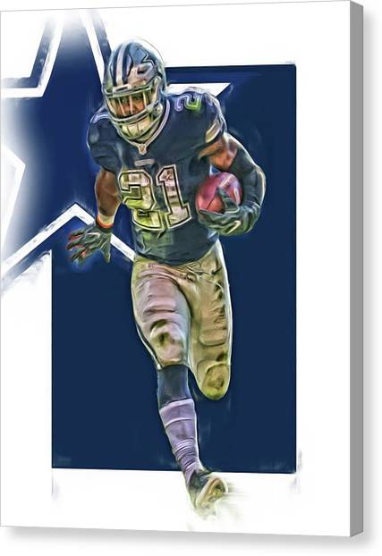 Dallas Cowboys Canvas Print - Ezekiel Elliott Dallas Cowboys Oil Art Series 1 by Joe Hamilton