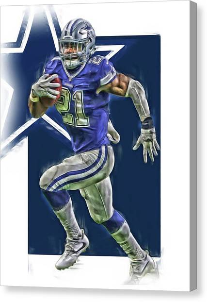 Dallas Cowboys Canvas Print - Ezekiel Elliott Dallas Cowboys Oil Art Series 2 by Joe Hamilton