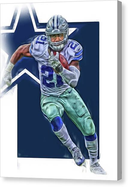Dallas Cowboys Canvas Print - Ezekiel Elliott Dallas Cowboys Oil Art Series 3 by Joe Hamilton