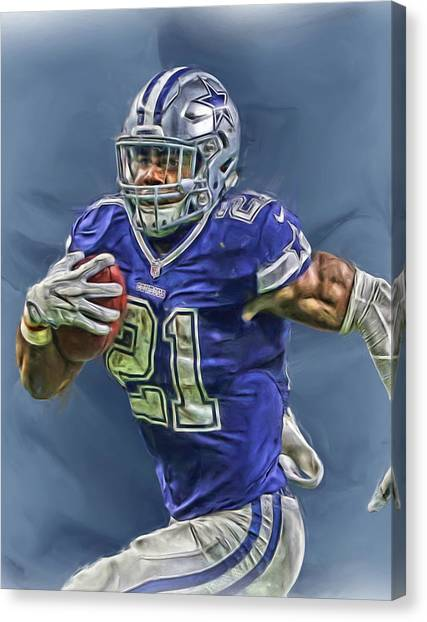 Dallas Cowboys Canvas Print - Ezekiel Elliott Dallas Cowboys Oil Painting 2 by Joe Hamilton