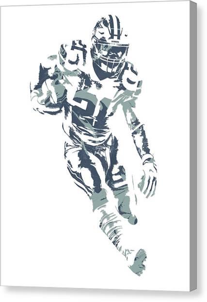 Dallas Cowboys Canvas Print - Ezekiel Elliott Dallas Cowboys Pixel Art 27 by Joe Hamilton