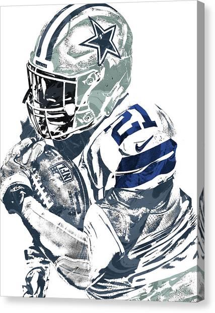 Dallas Cowboys Canvas Print - Ezekiel Elliott Dallas Cowboys Pixel Art 5 by Joe Hamilton