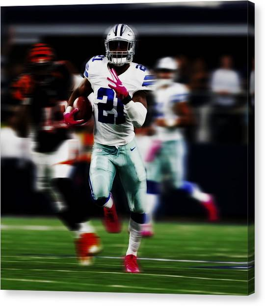Troy University Troy Canvas Print - Ezekiel Elliott Gone To The House by Brian Reaves