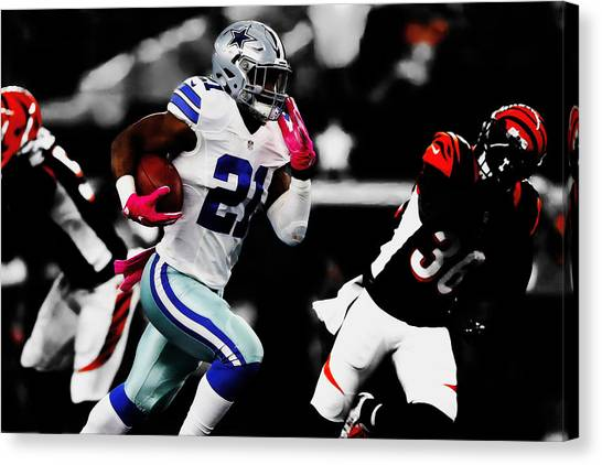 Troy University Troy Canvas Print - Ezekiel Elliott Headed To The House by Brian Reaves
