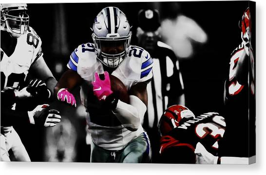 Troy University Troy Canvas Print - Ezekiel Elliott Hitting The Hole by Brian Reaves