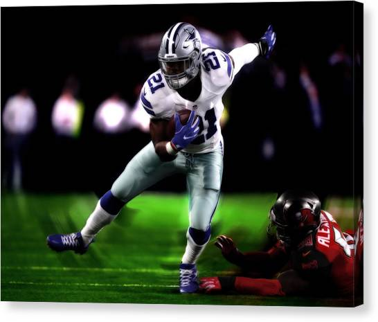 Troy University Troy Canvas Print - Ezekiel Elliott On Balance by Brian Reaves