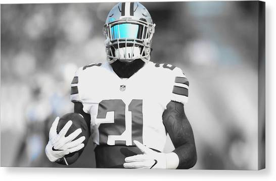 Troy University Troy Canvas Print - Ezekiel Elliott Ready To Go by Brian Reaves
