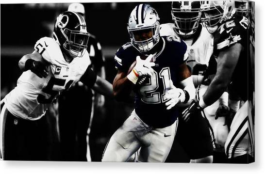 Troy University Troy Canvas Print - Ezekiel Elliott Toting The Rock by Brian Reaves
